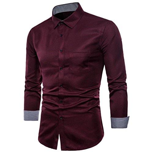Chemises Blouse Costumes Décontractés Slim Fit T-Shirt à Manches Longues Oxford pour Homme Malloom