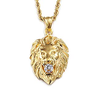 Daesar Mens Stainless Steel Necklace Pendant Cubic Zirconia Necklace Mens Lion Head Necklace Chain Gold