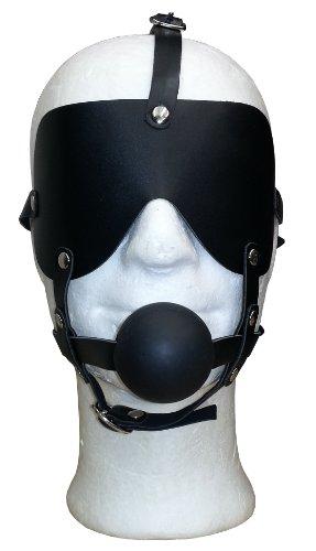Bondage Leder Mundknebel Harness Mund Ball Knebel Kopfgeschirr mit Augenbinde Augenmaske Maske
