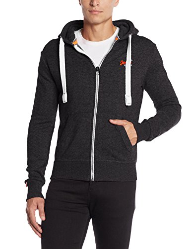 SUPERDRY Orange Label Ziphood, Felpa Uomo, Low Light Black Gritvwo, M