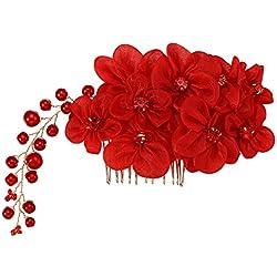 Frcolor Boda flor pelo peine diapositiva clip con perla strass (rojo)