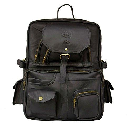 16 inch Leather Retro Rucksack Vintage Backpack College Bag, School Picnic Bag Travel Knapsack (Bag Coach Camera)