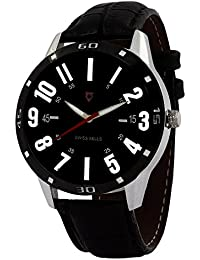 Svviss Bells™ Orginal Black Dial Black Leather Strap Analog Wrist Watch For Men - TA-887