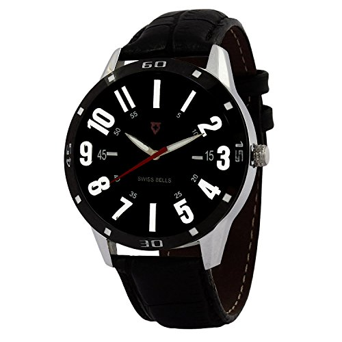 Svviss Bells™ Orginal Black Dial Black Leather Strap Analog Wrist Watch For Men - TA-887