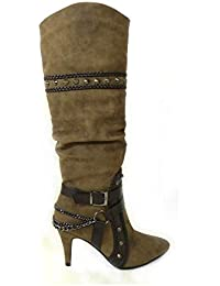 bf292b7503f9a SKO'S Ladies Womens Knee High Mid Heel Pointy Toe Stud Chain Buckle Winter  Boots Size