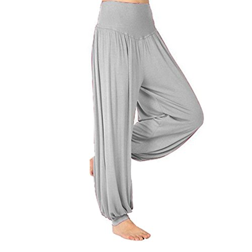Viskey Women Ladies Solid Harem Yoga Sport Belly Elastic Waist Dance Wide Leg Pants Loose Long Trousers, Grey