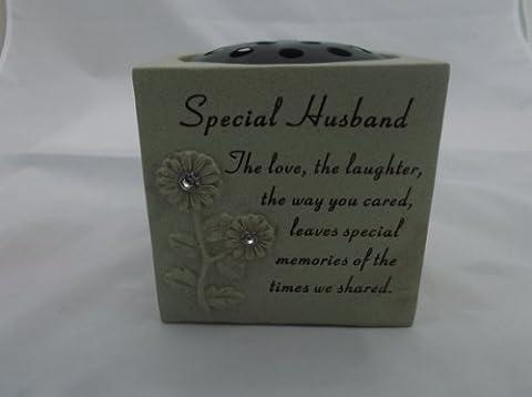 SPECIAL HUSBAND DIAMANTE GRAVE FLOWER POT