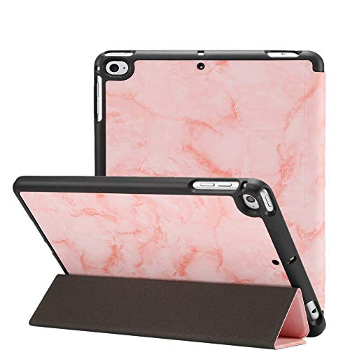 Jctek iPad Mini 5 Hülle 2019 mit Stifthalter, Premium Trifold Case mit Auto Sleep/Wake Funktion, Ultra Slim TPU Back Cover für Apple iPad Mini 5. Generation Pink Marble 7.9 inch - Mini Tri Fold Wallet