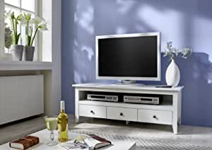 sam lowboard tv schrank annika wei teilmassiv birke landhausstil pflegeleicht optisch. Black Bedroom Furniture Sets. Home Design Ideas
