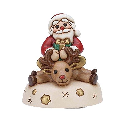 THUN Carillon Babbo Natale ceramica decorata a mano 13,5 cm h
