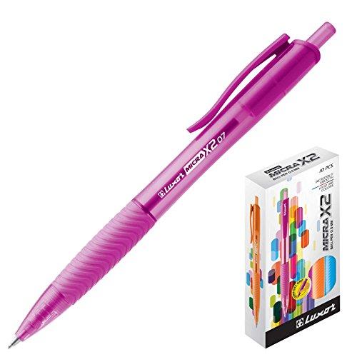 Luxor Micra X2 - Pack de 10 bolígrafos, color rosa
