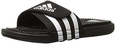 adidas Originals Men's Adissage Sandal, Black/Black/White, 14 M US