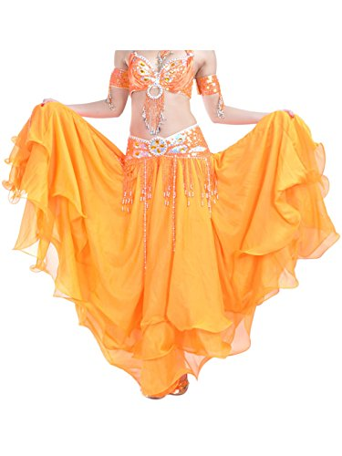 Kostüm Orange Genie - Damen Bauchtanz Rock dreischichtige Chiffonrock Tanzrock Orange