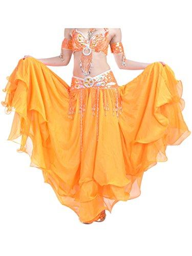 Genie Orange Kostüm - Damen Bauchtanz Rock dreischichtige Chiffonrock Tanzrock Orange