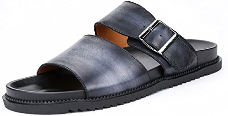 DFB Sandalen Herrenschuhe Herren Breathable Anti Rutsch Sandalen Leder Casual Cool Pantoffeln Für Frauen Black 40