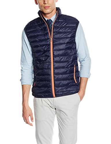 SELECTED HOMME Herren Weste SHXSIMPLE Vest, Blau (Navy Blazer Detail:Zipper-Coral), Large