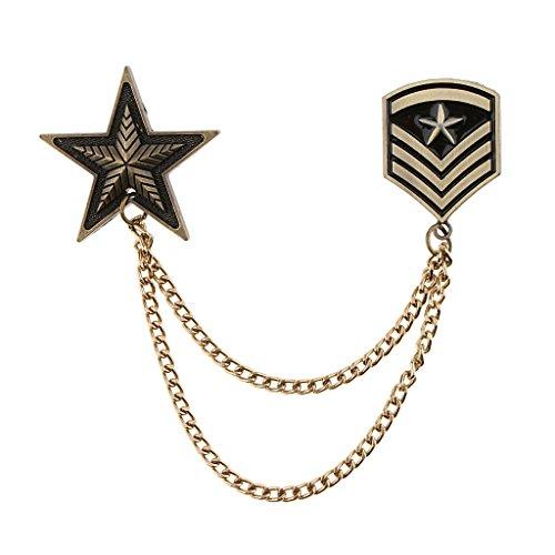 Elegante Militär Uniform Medaille Brosche mit Kette Sterne Schulter Brosche Schulterklappe