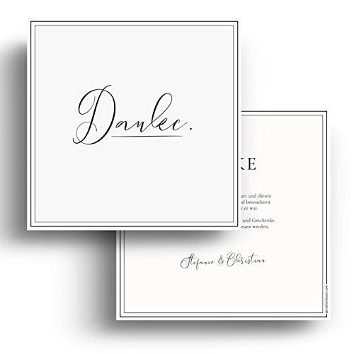 (60 x) Hochzeit Dankeskarten Danksagungskarten Danke Dankeschön Karten - Schwarz Weiß