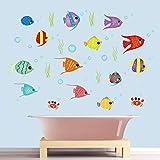 decalmile Pegatinas de Pared Peces de Colores Vinilos Decorativos Mundo Submarino Oceano Infantiles Bebés Niños Habitación Baño Adhesivos Pared