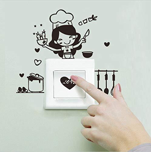 WFYY DIY Kochen Frau Schalter Aufkleber Für Küche Lichtschalter Aufkleber Cartoon Kochwerkzeug Wandaufkleber Aufkleber Küche Wohnkultur