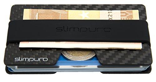 No. 1 Carbon Kreditkartenetui mit Münzfach und Geldklammer - mit MultiTool-Card - RFID / NFC Schutz - Slim Wallet - Carbon Etui