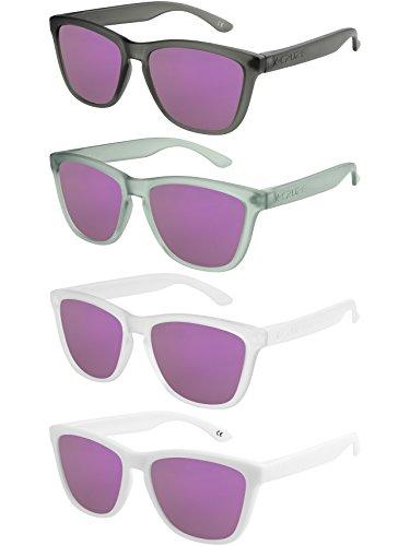 X-CRUZE 4er Pack X0 Nerd Sonnenbrillen polarisierend Vintage Retro Style Stil Unisex Herren Damen Männer Frauen Brillen Nerdbrille Nerdbrillen - lila verspiegelt - Set Y - - Für Männer Ski-set