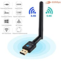 Adattatore Antenna USB WiFi Chiavetta Wifi con Antenna 2dBi Ricevitore WiFi 600Mbps 11ac Dual Band 2.4G/5.8G, Compatibile con Windows 10/8/7 / Vista / XP / 2000, Mac OS