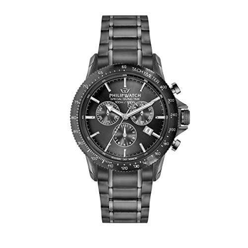 Philip Watch Men's Watch, Grand Reef Collection, Chronograph, Made of Stainless Steel, Gun pvd - R8273614001