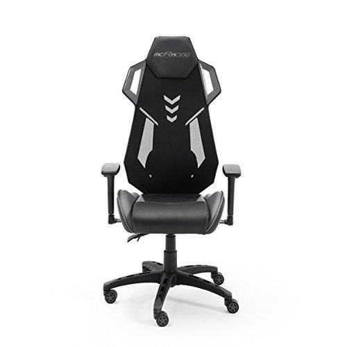 MC Racing B2, Gamingstuhl, Bürostuhl, Schreibtischstuhl, schwarz/grau,(B/H/T): circa 69 x 129 x 64 cm