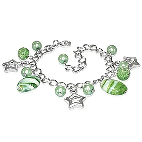 The Goldmine Colorful Light Green Pearl Glass Bead Ball Star Charm Link Chain Bracelet, Nickel-free
