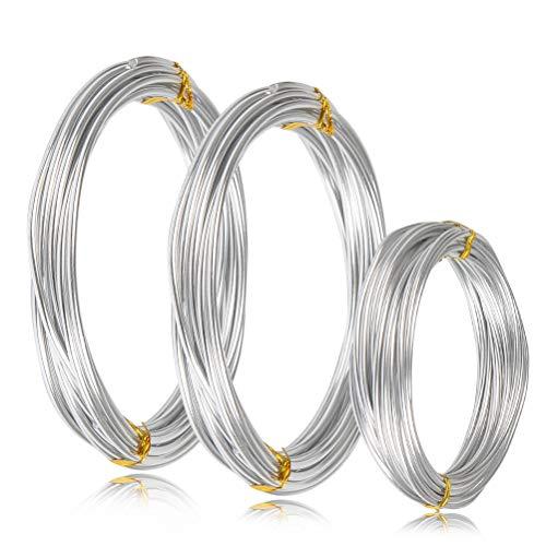 WOWOSS 3 Set Filo Metallico Alluminio 1/2/3mm Artigianale del Colore Argento Fai da te, Filo Alluminio per Collane Braccialetti per Modellare Bonsai Giardinaggio