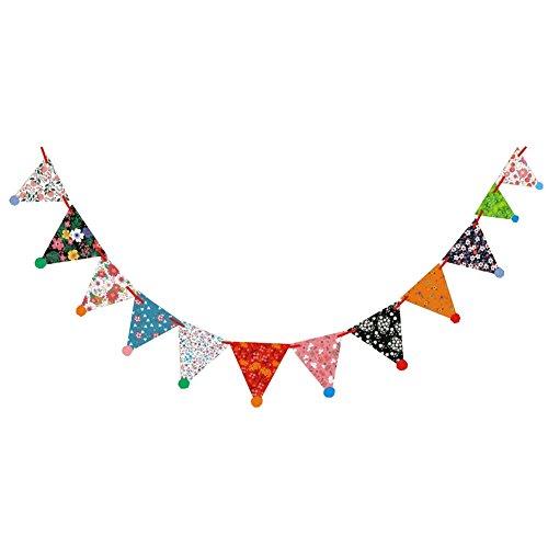 es Bunte Geburtstagswimpelkette, Geburtstags-Zug-Blumen-Motiv, zum Aufhängen, Dreieck-Flagge, Dekoration 3 m 4 as Show ()