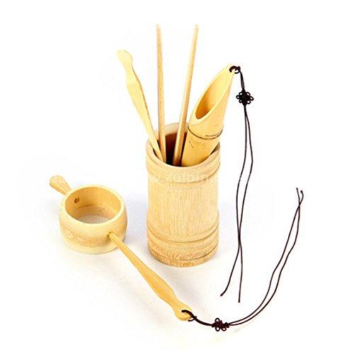 uxely Kongfu Tee Utensilien Set, neue Bambus Retro Rund China Tee Zubehör Kung Fu Tee Sets