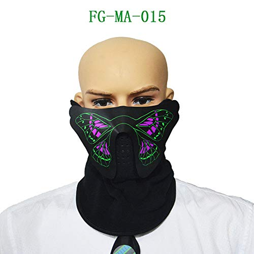 Algal mud TAOtTAO Halloween Sound Reaktive Half Face LED Leuchten Maske Dance Rave EDM Plur Party...