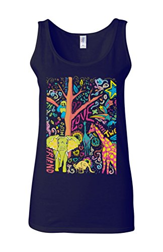 Happy Animals Elephant Giraffe Novelty White Femme Women Tricot de Corps Tank Top Vest Bleu Foncé