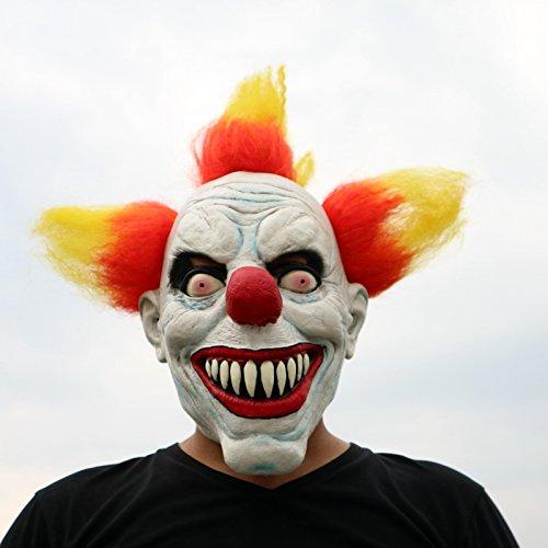Beängstigend Clown Kostüm (Rote Haare Red Hair Horror Clown mit Haaren böser Clown beängstigend scary Maske mask Kopf aus sehr hochwertigen Latex Material mit Öffnungen an Augen Halloween Karneval Fasching Kostüm Verkleidung für)