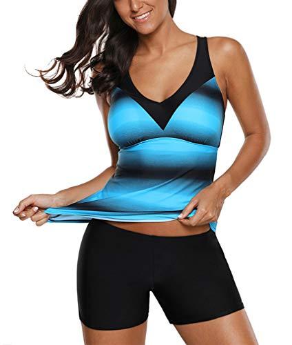 Ocean Plus Damen Zweiteilig X-Back Tankini Set mit Schwarz Hotpants mit Langer Badeshorts Farbverlauf Gestreift Bademode Shorts mit Bügeln (XL (EU 40-42), Blau Shorts)