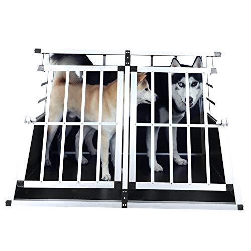 Allthemen Alu Hundetransportbox Hundbox Auto mit MDF Platten 2 Türen 89×69×50cm -