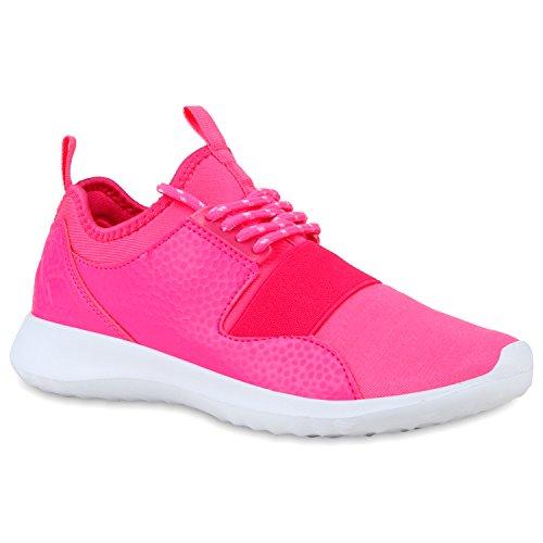Damen Sportschuhe Runners Lack Metallic Laufschuhe Sneakers Neonpink Brooklyn