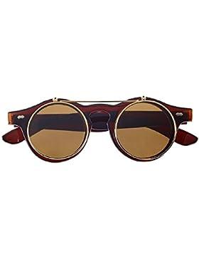 Gafas de sol redondas Steampunk Voltee la lente doble Hipster con varita