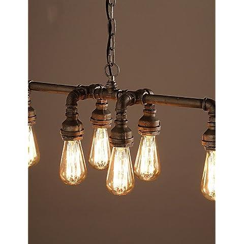 Edison ZSQ rétro in stile loft industriale Vintage Ciondolo lampada luce di metallo della tubazione dell'acqua,Apparecchiatura Lampara Colgantes , giallo-220-240v #3210