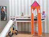 Thuka Kinder Turm Spielturm für Kinderbett Hochbett Rutschbett Bett orange pink