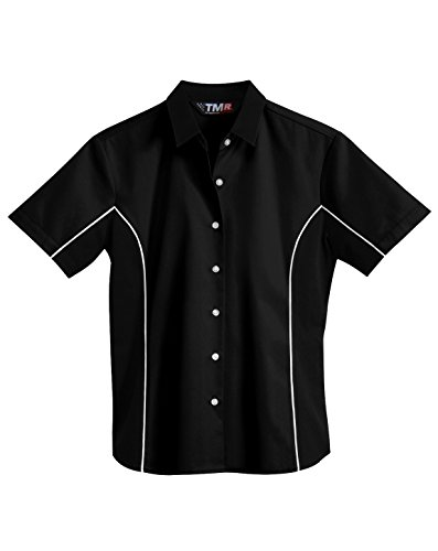 TRM Damen Poly/Baumwolle Short Sleeve Kontrast Paspelierung Twill Shirt (5Farben) - schwarz - 4X -