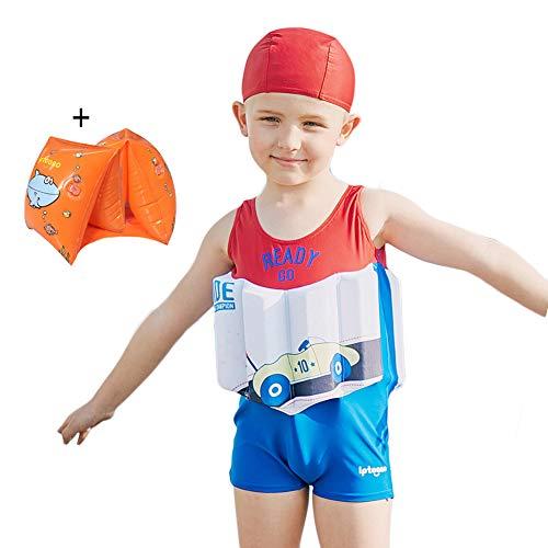 SXSHUN Kinder Badeanzug Jungen und Mädchen Trainings Swimwear Schwimmanzug Schwimmhilfe Mit UV Schutz Und Badekappe, Rot Weiß Blau, 104/110(Etikettengröße:110)