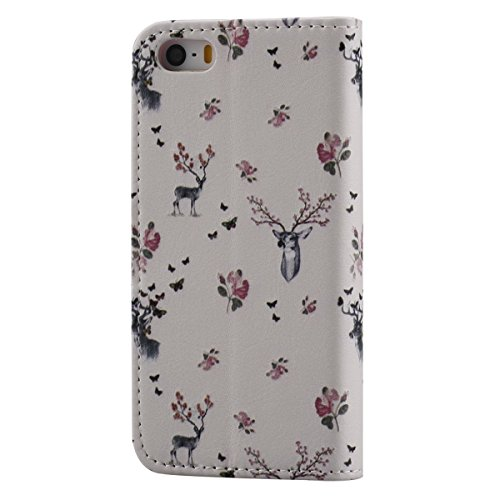 Hülle für iPhone SE, Tasche für iPhone 5 5S, Case Cover für iPhone 5 5S SE, ISAKEN Malerei Muster Folio PU Leder Flip Cover Brieftasche Geldbörse Wallet Case Ledertasche Handyhülle Tasche Case Schutzh Hirsch Blumen