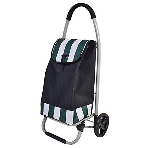 Outdoor-Einkaufstaschen Lightweight Utility Faltbarer Einkaufswagen | Einkaufswagen Einkaufswagen 2 Lagerrad faltbare Push, Pull-Karts Oxford Tuch Streifen Einkaufstasche Warenkorb Portable Tote große