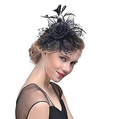 Machen Senf Kostüm - Wencaimd Haarschmuck mit Schleier, Damen Haarreifen Fascinator Hut Netzschleier für Party Halloween Karneval Hochzeit Kostüm Schwarz