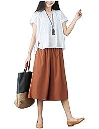 Mujer Pantalon Anchos Verano Pantalones Baggy Elegante Moda Casual Golpear Los Pantalones Color Sólido Cintura Alta