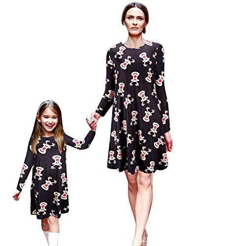MCYs Weihnachten Mutter Tochter Mama & Baby Kinder Mädchen Langarm Cartoon Animal Print Blumendruck Prinzessin Kleid Familie Kleidung Abend Partykleid (M, ()