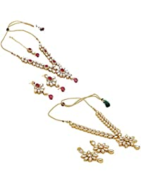 Aradhya Designer COMBO White Stone Graceful Party Wear Kundan Necklace With Earrings For Women - COMBO For 2 Necklace...